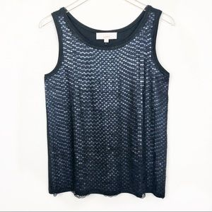 Loft Sequin and Lace Black Tank Top